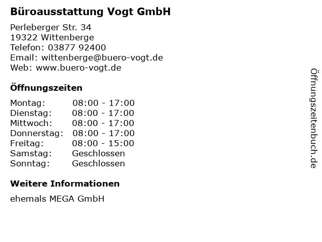 Büroausstattung Vogt GmbH in Wittenberge: Adresse und Öffnungszeiten