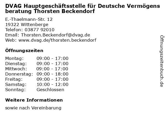 DVAG Hauptgeschäftsstelle für Deutsche Vermögensberatung Thorsten Beckendorf in Wittenberge: Adresse und Öffnungszeiten