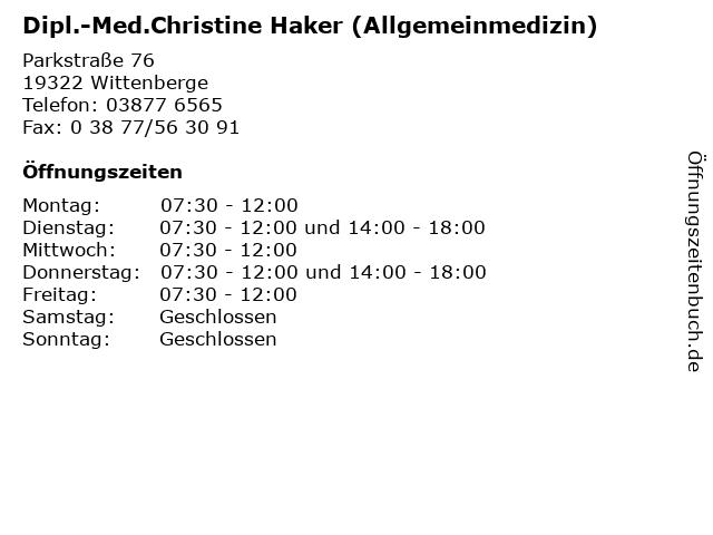 Dipl.-Med.Christine Haker (Allgemeinmedizin) in Wittenberge: Adresse und Öffnungszeiten