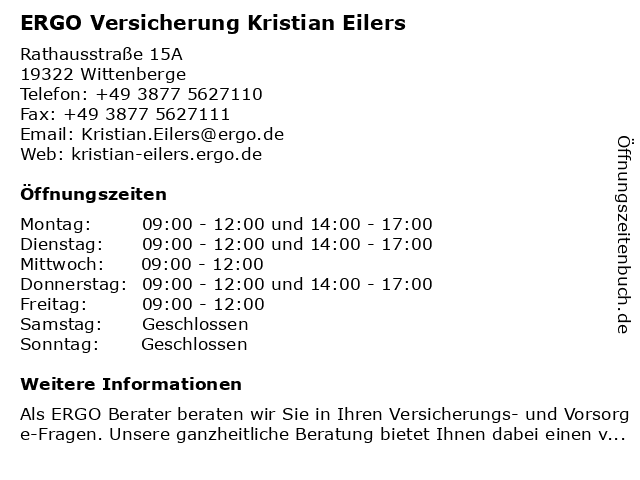 ERGO Versicherung Kristian Eilers in Wittenberge: Adresse und Öffnungszeiten