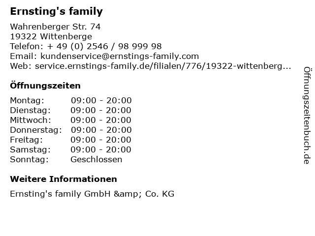 Ernsting's family in Wittenberge: Adresse und Öffnungszeiten