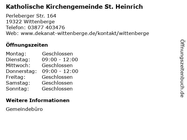 Katholische Kirchengemeinde St. Heinrich in Wittenberge: Adresse und Öffnungszeiten