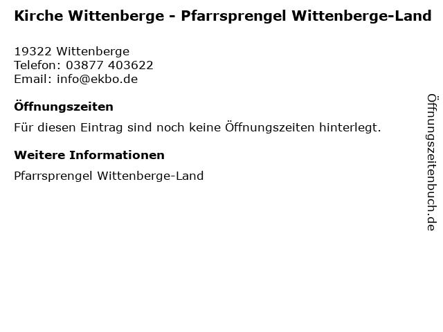 Kirche Wittenberge - Pfarrsprengel Wittenberge-Land in Wittenberge: Adresse und Öffnungszeiten