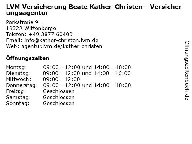 LVM Versicherung Beate Kather-Christen - Versicherungsagentur in Wittenberge: Adresse und Öffnungszeiten