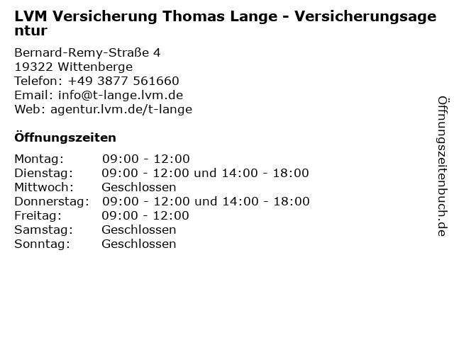 LVM Versicherung Thomas Lange - Versicherungsagentur in Wittenberge: Adresse und Öffnungszeiten