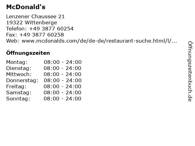 McDonald's in Wittenberge: Adresse und Öffnungszeiten