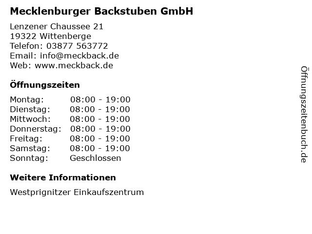 Mecklenburger Backstuben GmbH in Wittenberge: Adresse und Öffnungszeiten