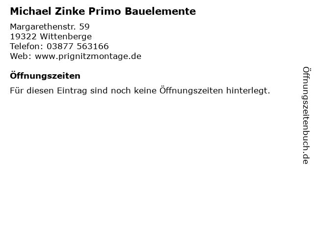 Michael Zinke Primo Bauelemente in Wittenberge: Adresse und Öffnungszeiten