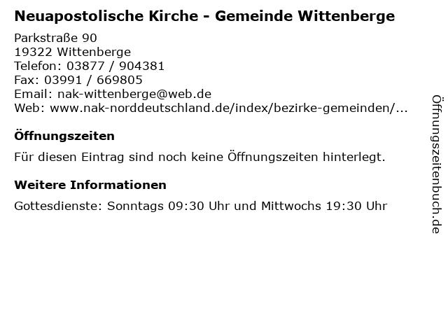 Neuapostolische Kirche - Gemeinde Wittenberge in Wittenberge: Adresse und Öffnungszeiten