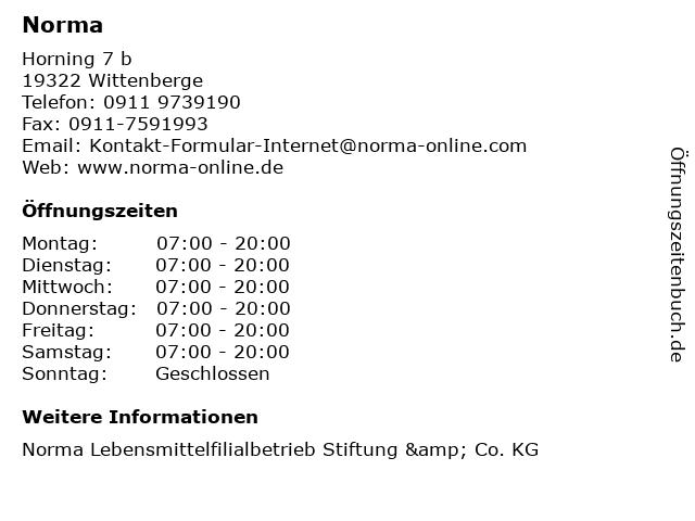 Norma in Wittenberge: Adresse und Öffnungszeiten