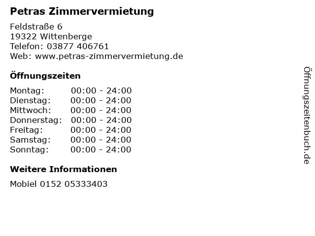 ᐅ öffnungszeiten Petras Zimmervermietung Feldstraße 6 In