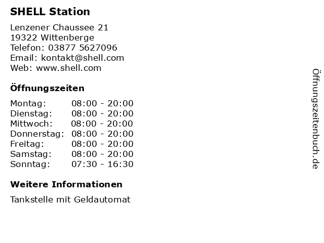 SHELL Station in Wittenberge: Adresse und Öffnungszeiten