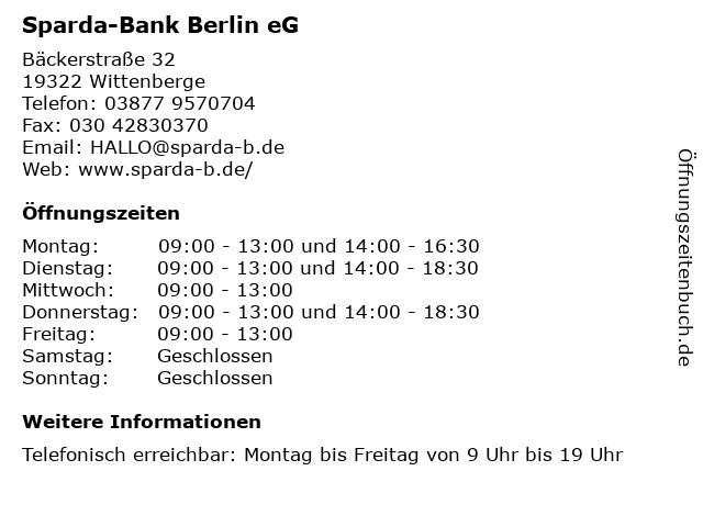 Sparda-Bank Berlin eG in Wittenberge: Adresse und Öffnungszeiten