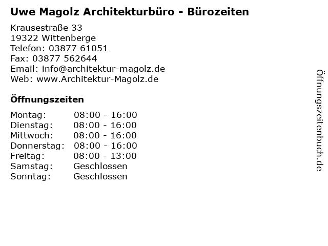 Uwe Magolz Architekturbüro - Bürozeiten in Wittenberge: Adresse und Öffnungszeiten