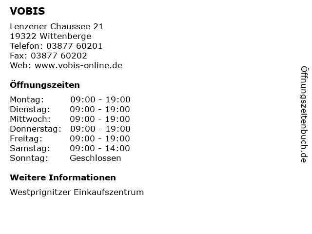VOBIS in Wittenberge: Adresse und Öffnungszeiten
