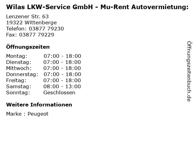 Wilas LKW-Service GmbH - Mu-Rent Autovermietung: in Wittenberge: Adresse und Öffnungszeiten