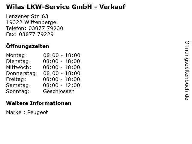 Wilas LKW-Service GmbH - Verkauf in Wittenberge: Adresse und Öffnungszeiten