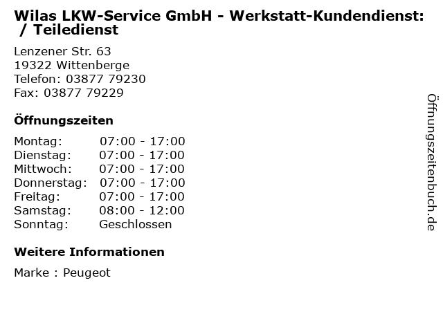 Wilas LKW-Service GmbH - Werkstatt-Kundendienst: / Teiledienst in Wittenberge: Adresse und Öffnungszeiten