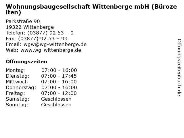 Wohnungsbaugesellschaft Wittenberge mbH (Bürozeiten) in Wittenberge: Adresse und Öffnungszeiten