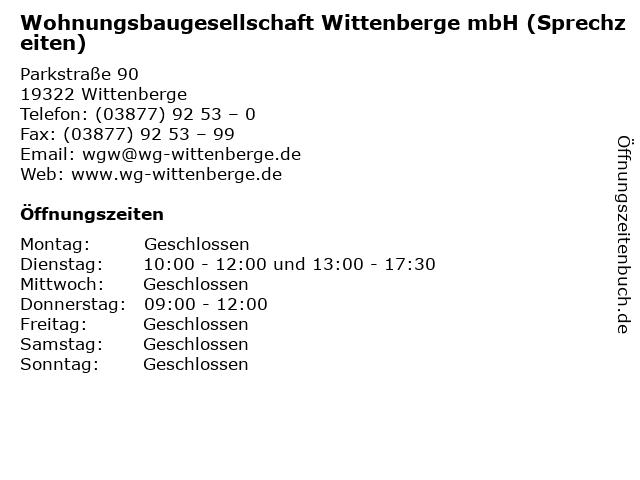 Wohnungsbaugesellschaft Wittenberge mbH (Sprechzeiten) in Wittenberge: Adresse und Öffnungszeiten