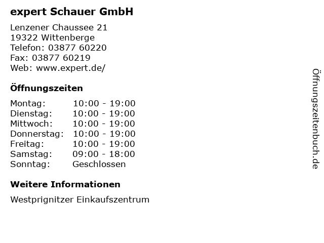 expert Schauer GmbH in Wittenberge: Adresse und Öffnungszeiten