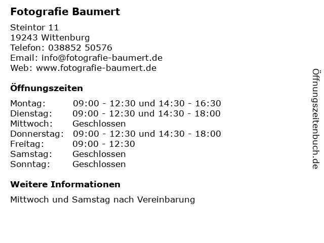 Fotografie Baumert in Wittenburg: Adresse und Öffnungszeiten