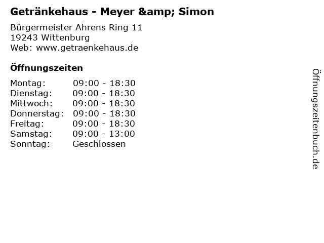 Getränkehaus - Meyer & Simon in Wittenburg: Adresse und Öffnungszeiten