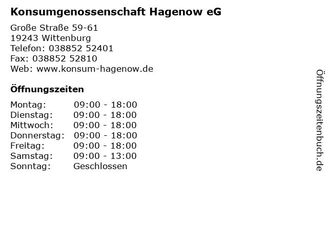 Konsumgenossenschaft Hagenow eG in Wittenburg: Adresse und Öffnungszeiten