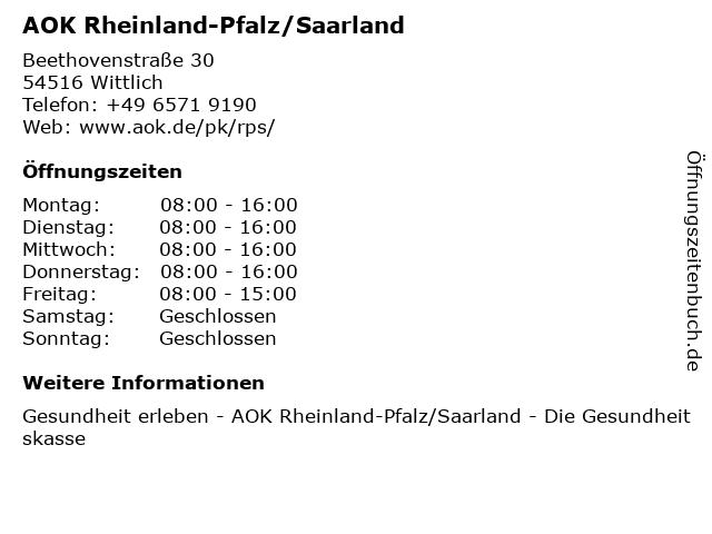 AOK Rheinland-Pfalz/Saarland in Wittlich: Adresse und Öffnungszeiten