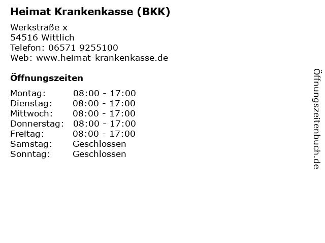 Á… Offnungszeiten Heimat Krankenkasse Bkk Werkstrasse X In Wittlich