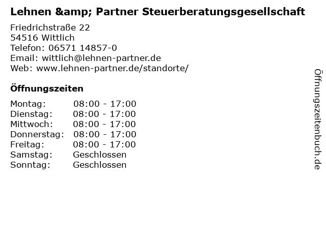 Lehnen & Partner Steuerberatungsgesellschaft in Wittlich: Adresse und Öffnungszeiten