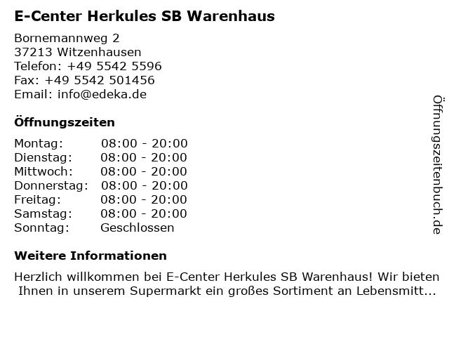 E-Center Herkules SB Warenhaus in Witzenhausen: Adresse und Öffnungszeiten