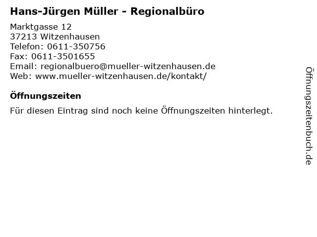 Hans-Jürgen Müller - Regionalbüro in Witzenhausen: Adresse und Öffnungszeiten