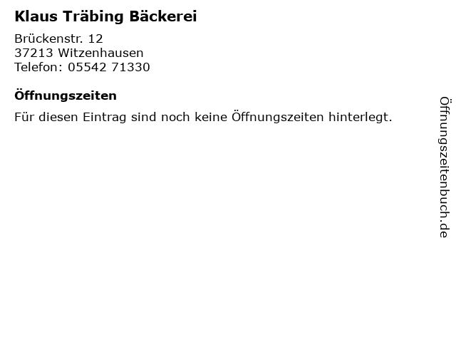 Klaus Träbing Bäckerei in Witzenhausen: Adresse und Öffnungszeiten