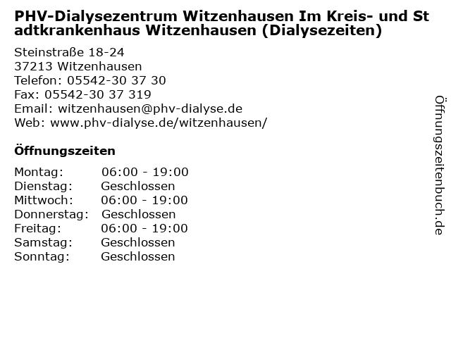 PHV-Dialysezentrum Witzenhausen Im Kreis- und Stadtkrankenhaus Witzenhausen (Dialysezeiten) in Witzenhausen: Adresse und Öffnungszeiten