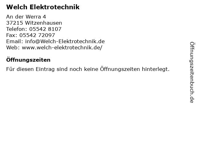 Welch Elektrotechnik in Witzenhausen: Adresse und Öffnungszeiten