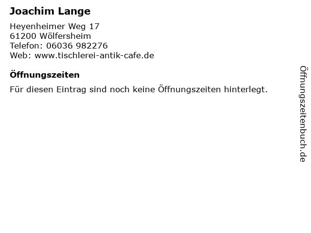 Joachim Lange in Wölfersheim: Adresse und Öffnungszeiten