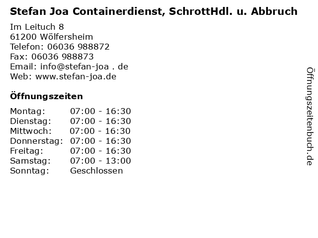 Stefan Joa Containerdienst, SchrottHdl. u. Abbruch in Wölfersheim: Adresse und Öffnungszeiten