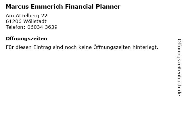 Marcus Emmerich Financial Planner in Wöllstadt: Adresse und Öffnungszeiten