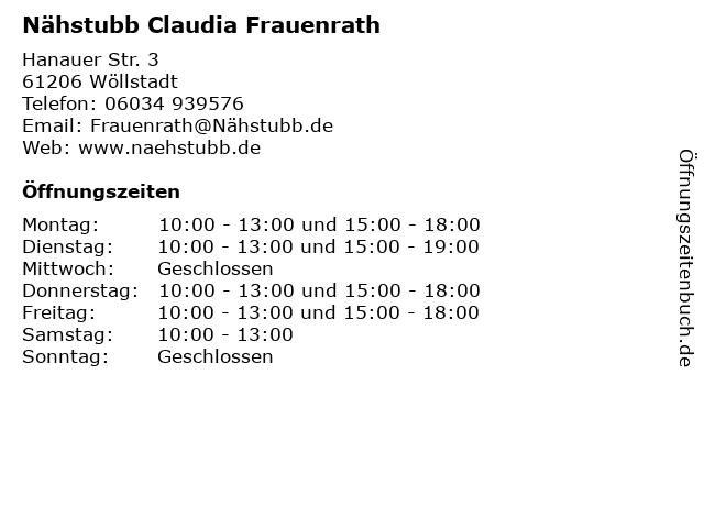 Nähstubb Claudia Frauenrath in Wöllstadt: Adresse und Öffnungszeiten