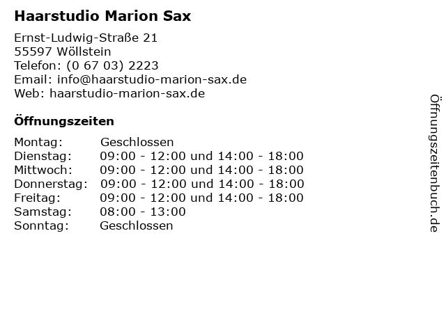 Haarstudio Marion Sax in Wöllstein: Adresse und Öffnungszeiten