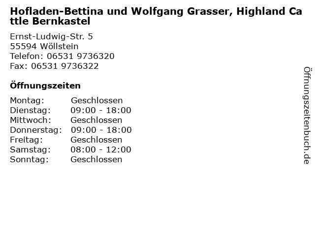 Hofladen-Bettina und Wolfgang Grasser, Highland Cattle Bernkastel in Wöllstein: Adresse und Öffnungszeiten
