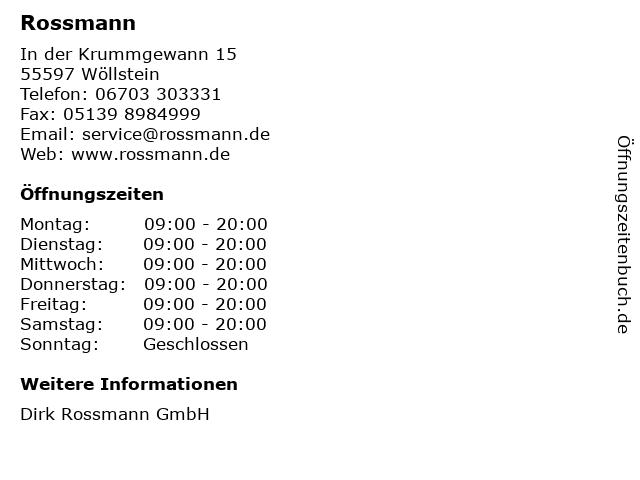 Dirk Rossmann GmbH in Wöllstein: Adresse und Öffnungszeiten