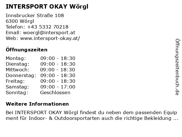 INTERSPORT Wörgl in Wörgl: Adresse und Öffnungszeiten