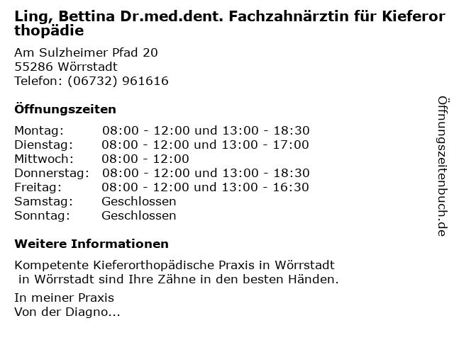 Ling, Bettina Dr.med.dent. Fachzahnärztin für Kieferorthopädie in Wörrstadt: Adresse und Öffnungszeiten
