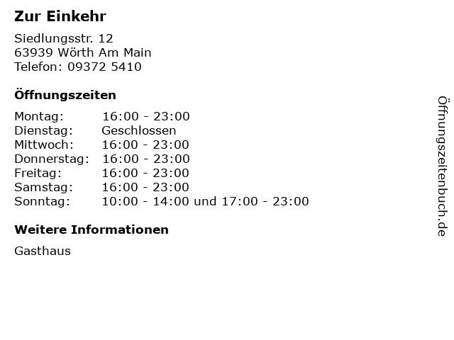 Zur Einkehr in Wörth Am Main: Adresse und Öffnungszeiten