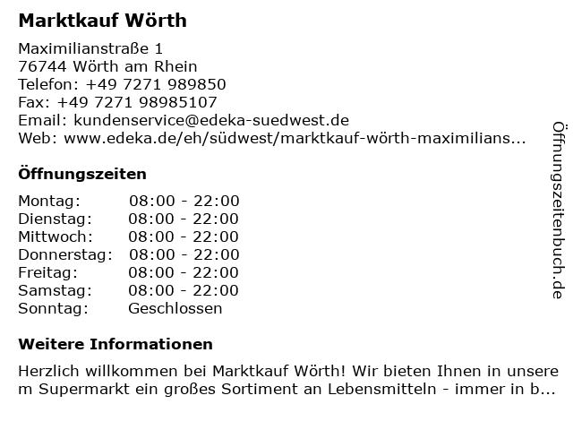 Marktkauf Wörth in Wörth am Rhein: Adresse und Öffnungszeiten