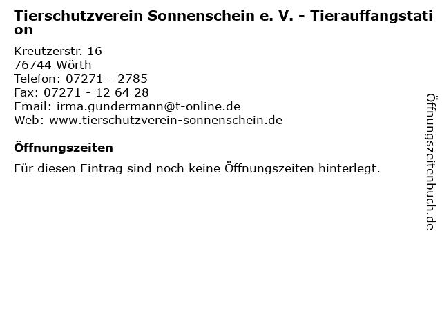 Tierschutzverein Sonnenschein e. V. - Tierauffangstation in Wörth: Adresse und Öffnungszeiten
