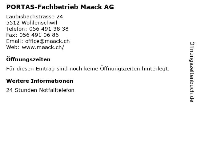 PORTAS-Fachbetrieb Maack AG in Wohlenschwil: Adresse und Öffnungszeiten