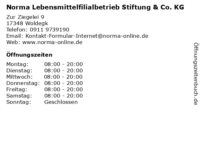Norma Lebensmittelfilialbetrieb Stiftung & Co. KG in Woldegk: Adresse und Öffnungszeiten